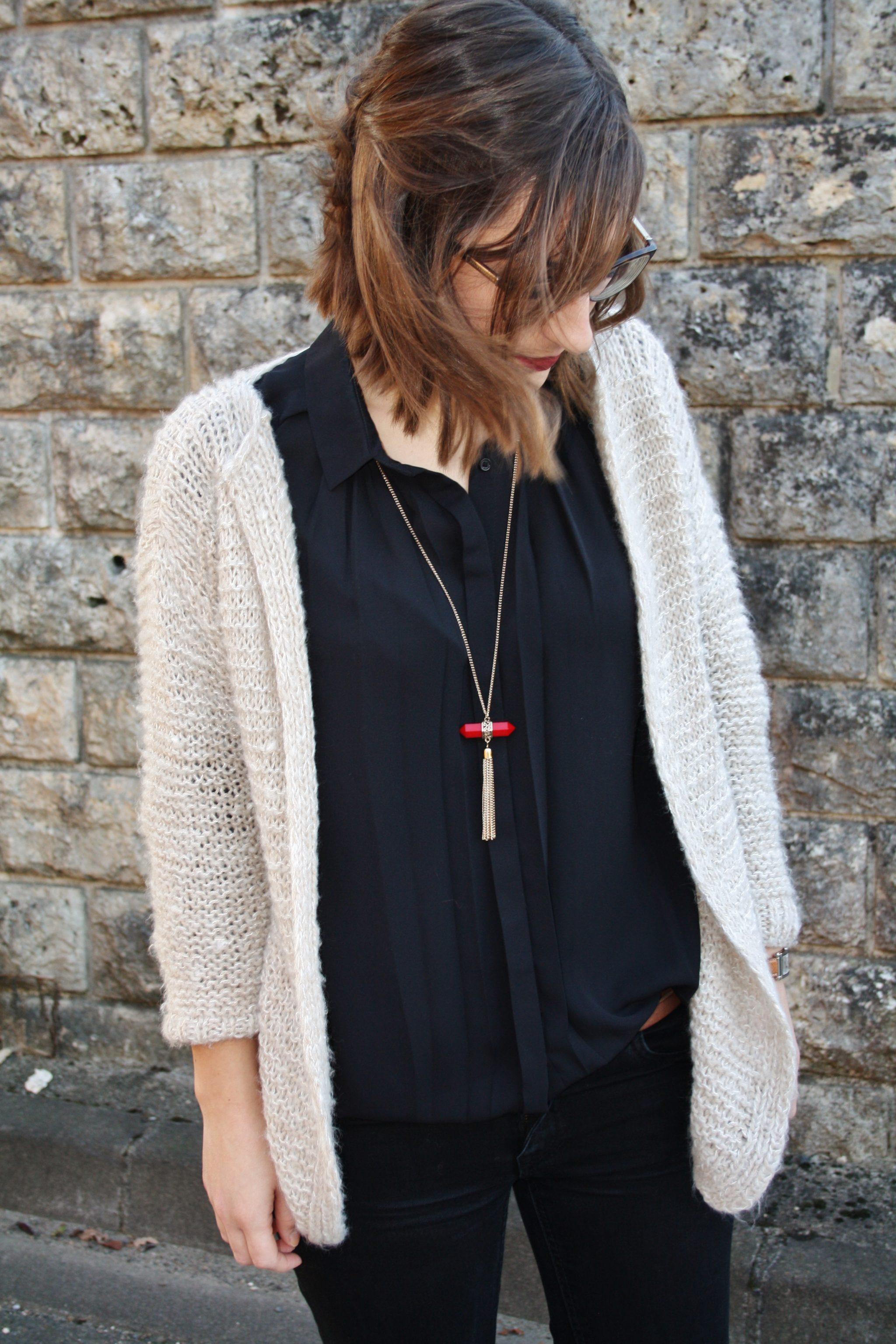 Le gilet germaine huguette paillettes blog et id es - Grosse laine pour tricoter sans aiguille ...
