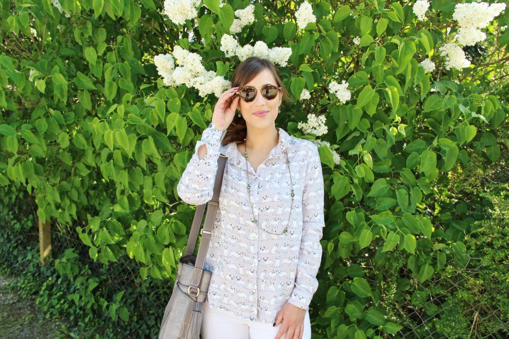 Huguette Paillettes Couture Chemise Elsa de La Maison Victor Motif chiens Cousette