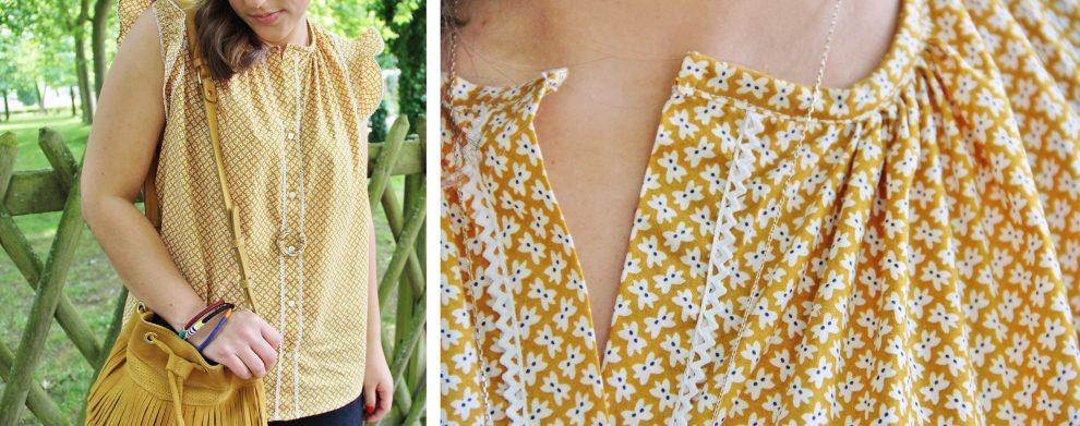 Huguette Paillettes - Couture - Top Eva de Coralie Bijasson x Mydress Made modifié en tissu Papillons Cousette moutarde liseré dentelle