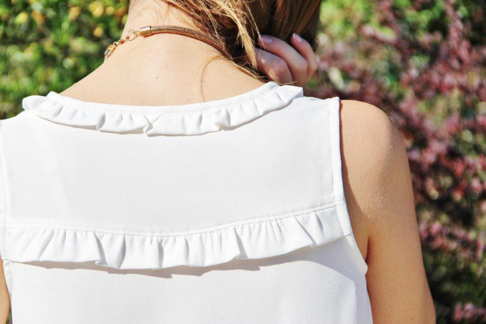 Huguette Paillettes Couture Top Alize de Atelier Scammit volants col et dos