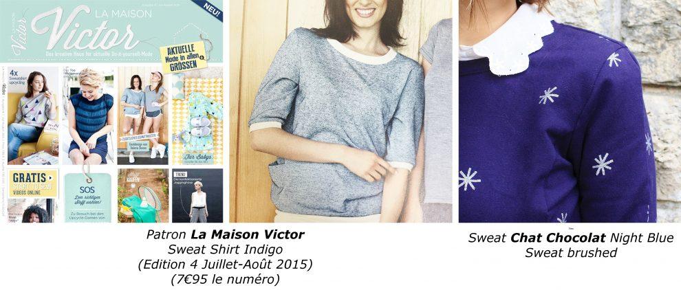 A vos aiguilles Huguette Paillettes Couture La Maison Victor Sweet Sweat Shirt Indigo