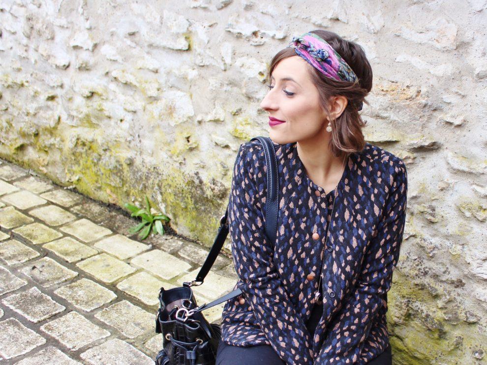 Huguette Paillettes Couture Burda veste Blue Print Imprimé Eglantine et Zoé