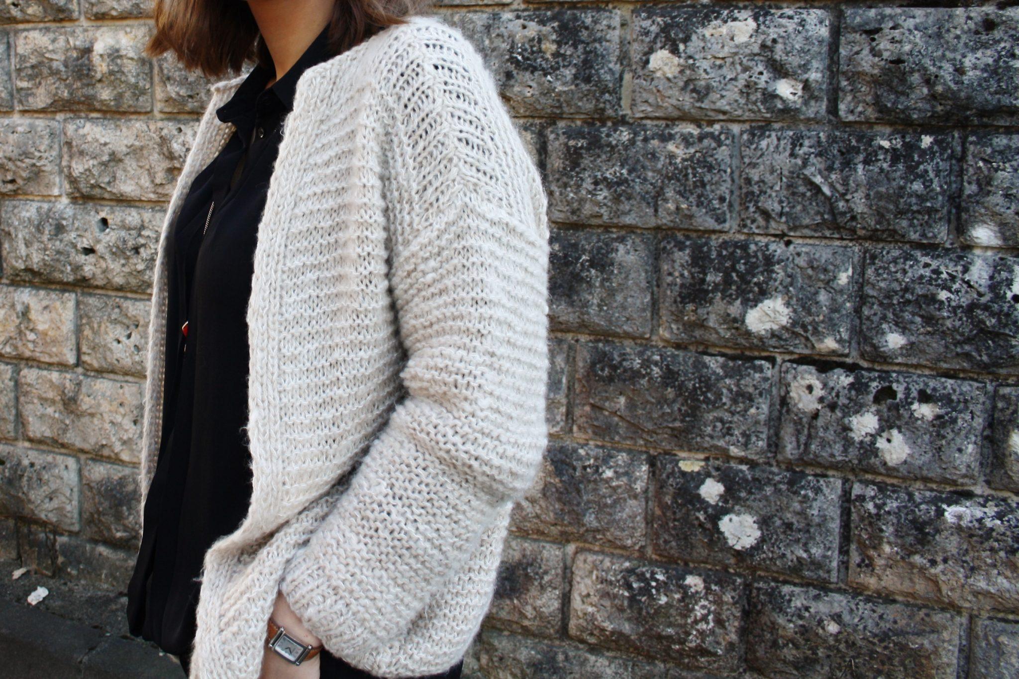 Gilet femme en laine grosse maille