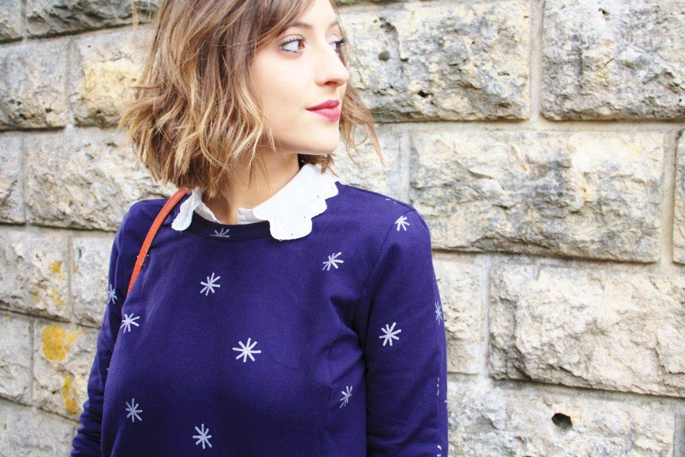 Huguette Paillettes Couture Sweat Shirt Indigo de La Maison Victor Juillet Aout 2015 Chat Chocolat