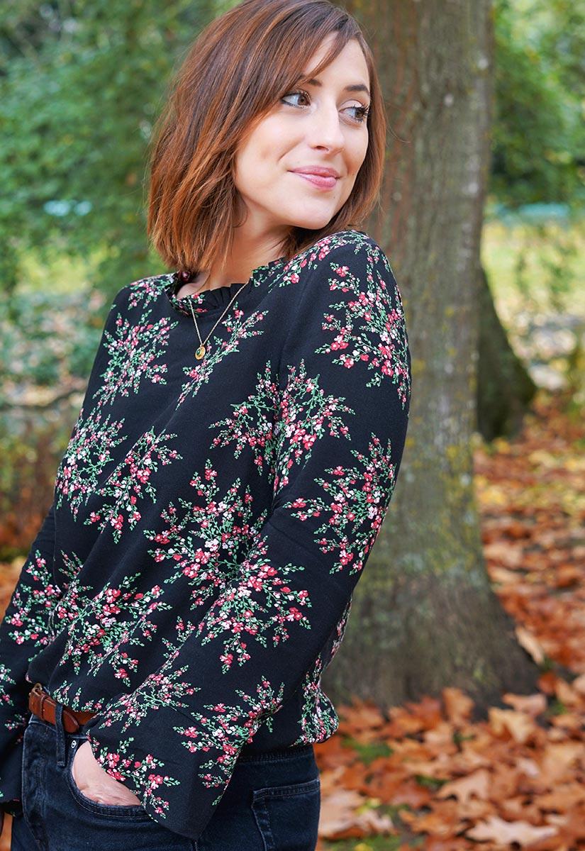 Huguette Paillettes | Couture | Blouse Esquisse de Ma Petite Garde Robe tissu viscose fleurie Makerist Dos nu